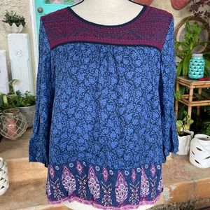 Lucky Brand Casual Blue Magenta Top Blouse S